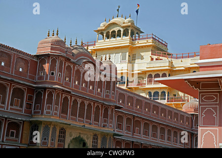 Chandra Mahal / Chandra Niwas, most commanding building in the City Palace complex, Jaipur, Rajasthan, India - Stock Photo