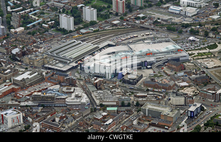 aerial view of St Stephens Shopping Centre and Paragon Railway Station, Hull, East Yorkshire - Stock Photo
