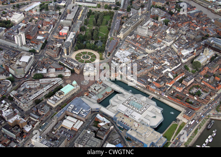 aerial view of central Hull, East Yorkshire - Stock Photo