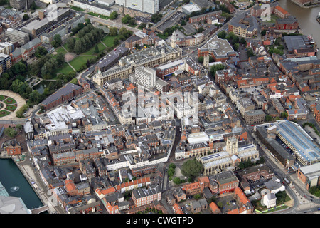aerial view of Hull old town, East Yorkshire - Stock Photo