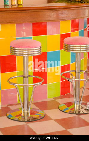 Cafe bar stools, Cayo Santa Maria, Cuba. - Stock Photo