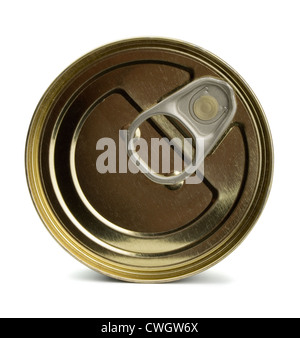 Top of closed food tin can isolated on white - Stock Photo