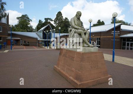 james watt statue outside heriot watt university edinburgh, scotland, uk, united kingdom - Stock Photo