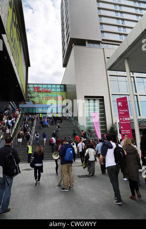 stratford London England Entrance To Westfield Shopping Centre Crowds Of People - Stock Photo