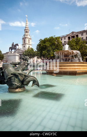 Fountains on Trafalgar Square, London - Stock Photo