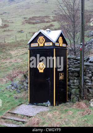 Old AA box on the A591 road in Cumbria, England - Stock Photo
