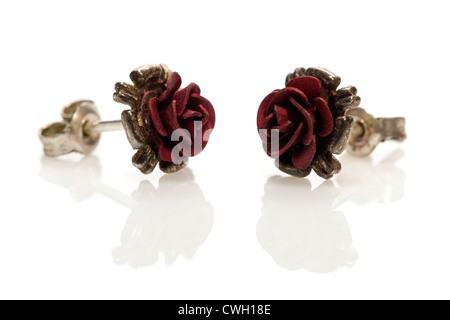 Pair of small red rose stud earrings