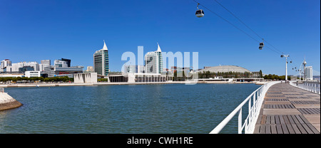 Portuguese and Atlantico Pavilions, Sao Gabriel / Sao Rafael Towers, Olivais Dock. Nations Park, Lisbon, Portugal - Stock Photo
