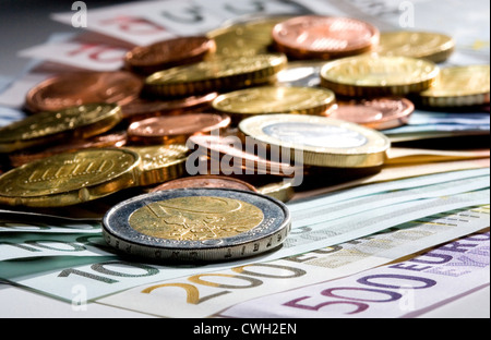 Euromuenzen Berlin, on a different compartments of euro notes - Stock Photo