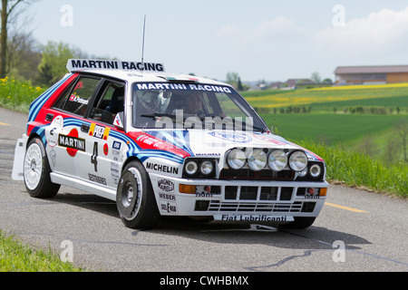 Vintage race touring carLancia Delta HF Integrale from 1988 at Grand Prix in Mutschellen, SUI on April 29, 2012. - Stock Photo