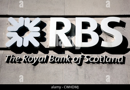 Sign and logo on branch of Royal Bank of Scotland, London - Stock Photo