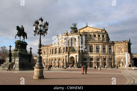 Dresden, the Theatre Square with equestrian statue of King Johann and Semperoper - Stock Photo