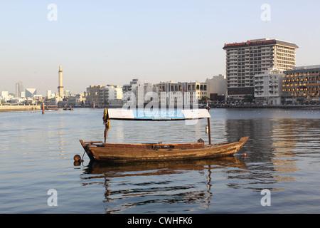 Emirates. Dubai. Passenger Boat (Abra) in Dubai Creek - Stock Photo