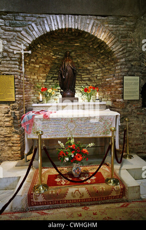 Ephesus, altar in the house of the Virgin Mary - Stock Photo