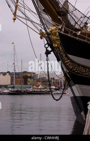 BOW AND FIGUREHEAD OF TALL SHIP ON THE RIVER AT THE TALL SHIPS RACE IN DUBLIN 2012 - Stock Photo