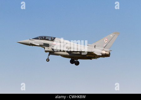 RAF Eurofighter EF2000 Typhoon T1A on final approach - Stock Photo