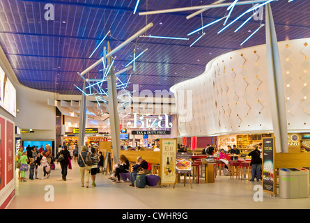Duty free shops at the departures lounge area of Manchester International Airport  England UK GB EU Europe - Stock Photo