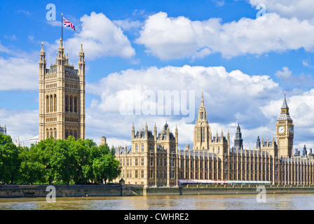 London Skyline London Houses of Parliament London Big Ben London City of london City London Cityscape Union Flag - Stock Photo