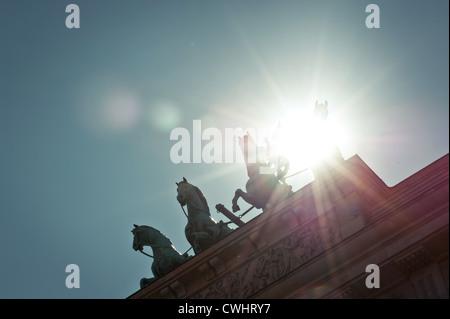 backlighting,berlin,brandenburg gate,quadriga statue - Stock Photo