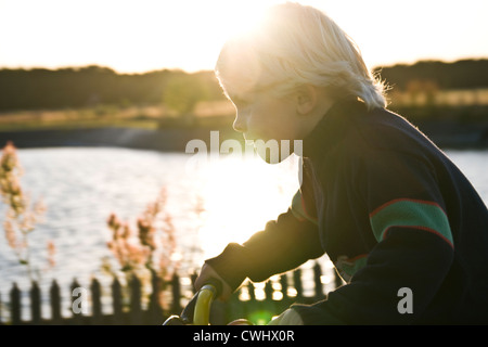 boy,cycling,bicycle trip - Stock Photo