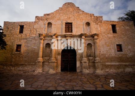 The Alamo in San Antonio, Texas in the warm light of sunrise - Stock Photo
