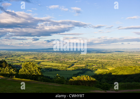 Panoramic countryside landscape view at sunset dusk from Malvern Hills Worcestershire England Europe - Stock Photo