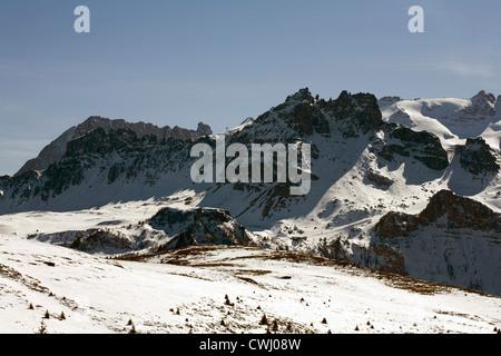 Massive limestone cliffs from Corvara Alta Badia  Dolomites  Italy - Stock Photo