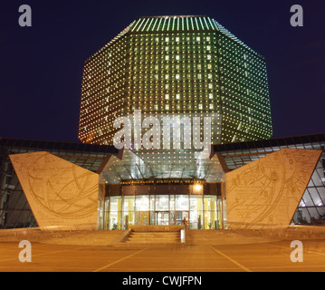Belarus. Minsk. National Library at night - Stock Photo