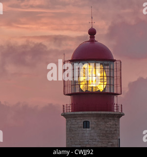 Cabo Sao Vicente Lighthouse at sunset, Most westerly point of Europe, Algarve, Portugal - Stock Photo