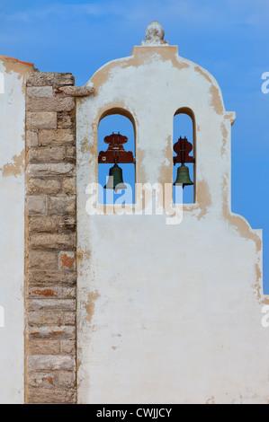 Nossa Senhora da Graca Church (Our Lady of Grace), Bell tower, Fortaleza of Sagres, Algarve, Portugal - Stock Photo