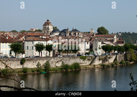 A view of the old city of Cahors across the river Lot, France. - Stock Photo