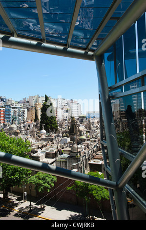 Recoleta cemetery viewed through the windows of a commercial mall, Buenos Aires, Argentina - Stock Photo