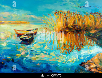 Original oil painting of boats,beautiful lake and Fern(rush) on canvas.Sunset over ocean.Modern Impressionism - Stock Photo
