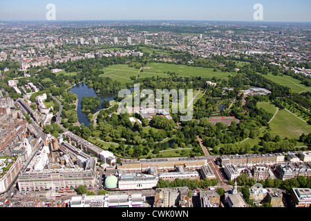 aerial view of Regent's Park London with Marylebone Road in the foreground - Stock Photo