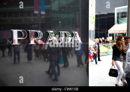Prada store at Westfield Shopping Centre in Stratford in East London, UK. - Stock Photo