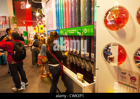 Inside M&M'S Chocolate Candy store in Times Square, Manhattan New York City - Stock Photo