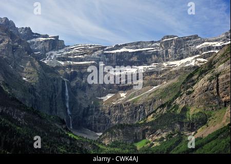 The Cirque de Gavarnie and the Gavarnie Falls / Grande Cascade de Gavarnie, highest waterfall of France in the Pyrenees - Stock Photo