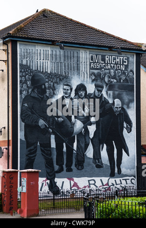 A mural in Derry depicting the Civil Rights movement. Northern Ireland. - Stock Photo