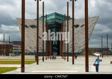 Titanic Belfast visitor attraction and monument in Titanic quarter of Belfast, Northern Ireland. - Stock Photo