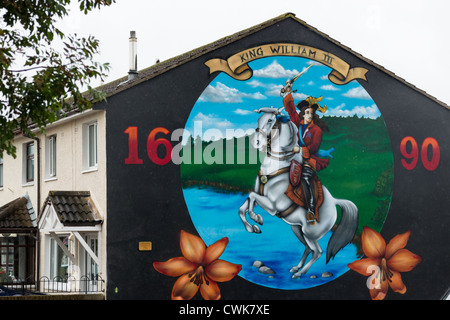 Lower Shankill Belfast Protestant/Loyalist mural celebrating William of Orange's victory at the Battle of the Boyne - Stock Photo