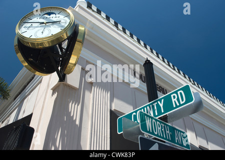 CLOCK TOURNEAU WATCH STORE WORTH AVENUE PALM BEACH FLORIDA USA - Stock Photo