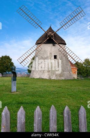 vetrny mlyn (technicka pamatka), Kuzelov, Slovacko, Morava, Ceska republika - Stock Photo