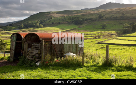Outhgill farm landscape near Mallerstang Valley in Kirkby Stephen, East Cumbria, UK - Stock Photo