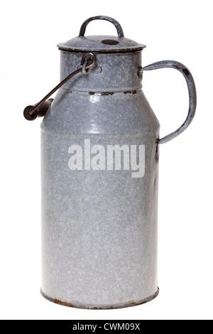 Old enamel milk churn with lid, isolated on white background - Stock Photo
