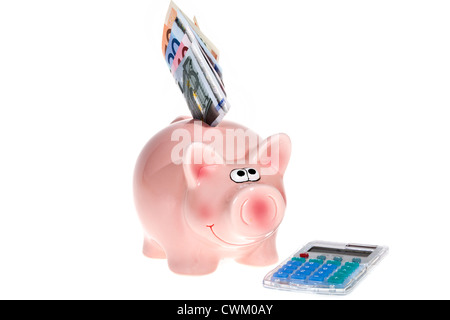 Smiling Pink piggy bank with Euro bank notes and a modern pocket calculator isolated on white background