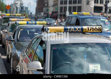 Dublin Taxi rank in City Centre, Republic of Ireland. - Stock Photo