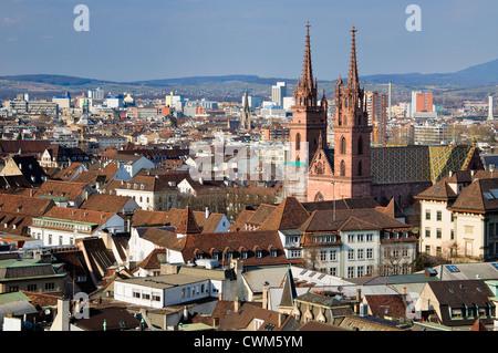 Basel Munster and city view. Switzerland. - Stock Photo
