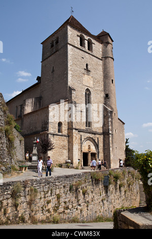 A view of the medieval church overlooking the beautiful village of Saint-Cirq-Lapopie in Lot region of South West - Stock Photo