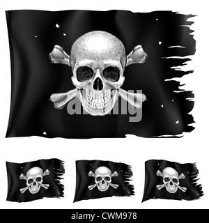 Three types of pirate flag. Illustration for design on white background - Stock Photo
