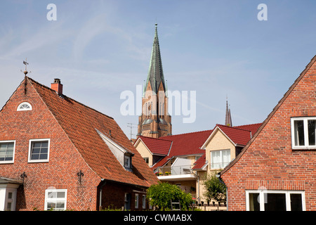 old part of town and Schleswig Cathedral in Schleswig, Schleswig-Holstein, Germany, Europe - Stock Photo